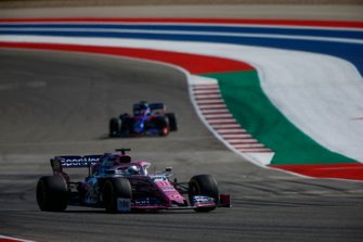 Sergio Perez, Racing Point RP19, leads Daniil Kvyat, Toro Rosso STR14