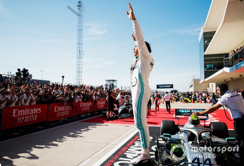 Lewis Hamilton, Mercedes AMG F1, 2nd position, celebrates in Parc Ferme after securing the world drivers championship title for a sixth time