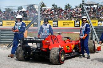 Charles Leclerc, Ferrari SF90 stops on track