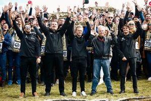 Romain Grosjean, Haas F1 Team, Guenther Steiner, Team Principal, Haas F1 Team, Kevin Magnussen, Haas F1 Team, Gene Haas, Owner And Founder, Haas F1 Team and Pietro Fittipaldi, test and development driver, Haas F1 Team