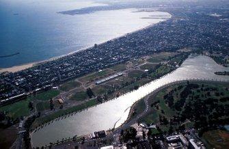 Вид на трассу в Альберт-парке с воздуха