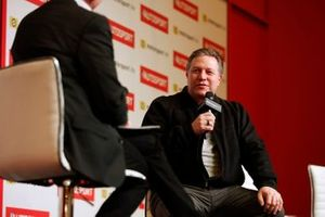 Zak Brown, Executive Director, McLaren is interviewed on the Autosport stage