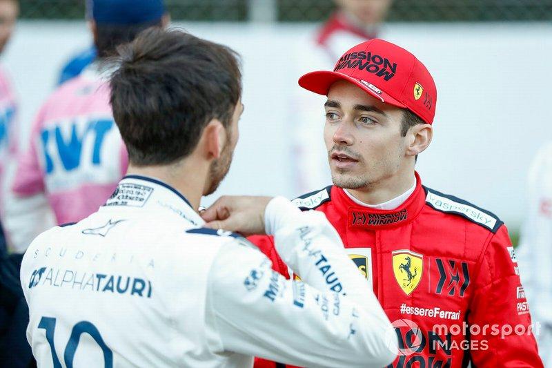 Charles Leclerc, Ferrari, talks to Pierre Galsy, AlphaTauri