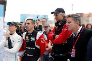 Alejandro Agag, Chairman of Formula E, Sébastien Buemi, Nissan eDams, Nissan IMO2, Nyck De Vries, Mercedes Benz EQ, EQ Silver Arrow 01