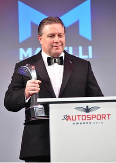 Zak Brown, Executive Director, McLaren, voor de uitreiking van de Moment of the Year award