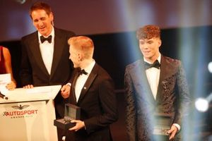 Johnathan Hoggard and Ayrton Simmons on stage for the BRDC Young Driver of the Year award presentation