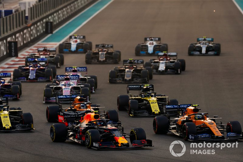 Alexander Albon, Red Bull RB15, Lando Norris, McLaren MCL34, Carlos Sainz Jr., McLaren MCL34, Daniel Ricciardo, Renault F1 Team R.S.19