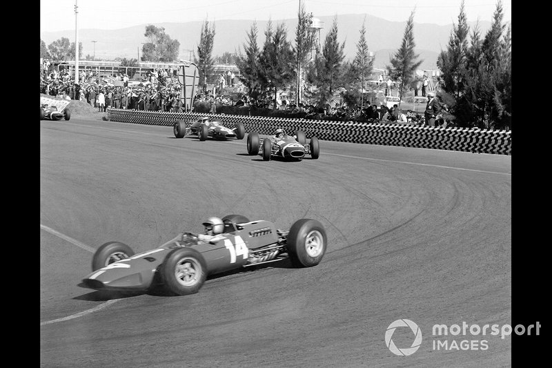 Pedro Rodriguez, Ferrari, Jo Siffert, Brabham, Jim Clark, Lotus, al GP del Messico del 1965