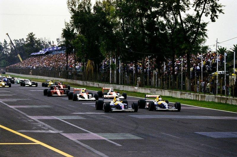 Nigel Mansell, Williams FW14 Renault, Riccardo Patrese, Williams FW14 Renault, Ayrton Senna, McLaren MP4-6 Honda, Gerhard Berger, McLaren MP4-6 Honda, Alain Prost, Ferrari 643, Jean Alesi, Ferrari 643