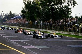 Start zum GP Mexiko 1991 in Mexico City: Nigel Mansell, Williams FW14, Riccardo Patrese, Williams FW14