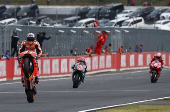 Race winner Marc Marquez, Repsol Honda Team, second place Fabio Quartararo, Petronas Yamaha SRT, third place Andrea Dovizioso, Ducati Team
