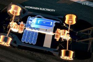 Le auto useranno la tecnologia delle celle a combustibile con i serbatoi montati in modo sicuro con la monoscocca in fibra di carbonio dell'auto