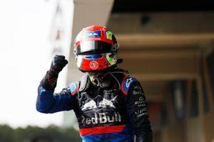 Pierre Gasly, Toro Rosso celebrates in Parc Ferme