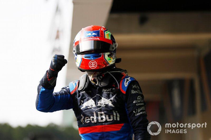 Pierre Gasly, Toro Rosso, festeggia nel parco chiuso