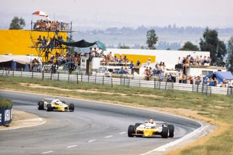 Jean-Pierre Jabouille, Renault RE20, leads René Arnoux, Renault RE20