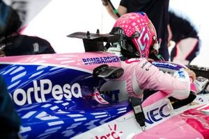Lance Stroll, Racing Point, enters his cockpit
