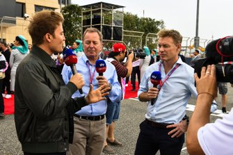 Nico Rosberg, Martin Brundle and Simon Lazenby, Sky Sports F1
