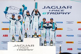 The PRO class podium, Katherine Legge, Rahal Letterman Lanigan Racing, Bryan Sellers, Rahal Letterman Lanigan Racing, Sérgio Jimenez, Jaguar Brazil Racing stands with the PRO AM class, Bandar Alesayi, Saudi Racing, Ahmed Bin Khanen, Saudi Racing, Lin Qi, Team China