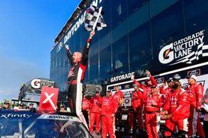 Michael Annett, JR Motorsports, Chevrolet Camaro Chevrolet Pilot Flying J / American Heart Association celebrates in victory lane after winning