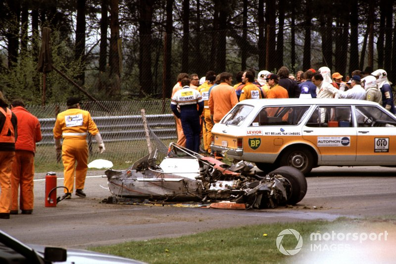 The car of Gilles Villeneuve, Ferrari 126C2 after the crash