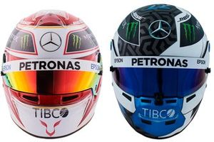 Helmets of Lewis Hamilton, Mercedes AMG F1, and Valtteri Bottas, Mercedes AMG F1
