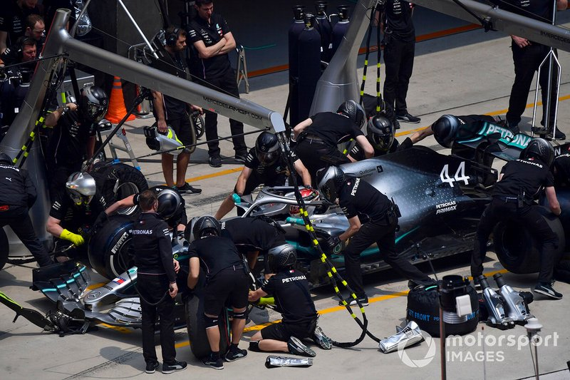 Lewis Hamilton, Mercedes AMG F1 W10, makes a stop during practice
