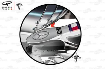 Mercedes W10, dettaglio del nuovo naso