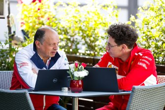 Mattia Binotto, Team Principal Ferrari, and Frederic Vasseur, Team Principal, Alfa Romeo Racing talk in the paddock