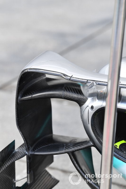 Mercedes AMG F1 W10 bodywork in the pit lane