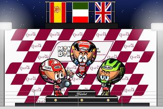 El podio del GP de Qatar de MotoGP 2019, por MiniBikers