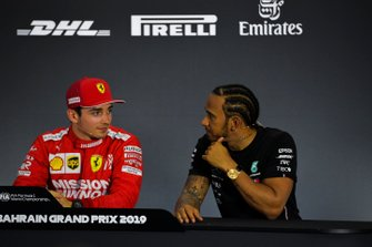 Charles Leclerc, Ferrari, and Lewis Hamilton, Mercedes AMG F1, in the post Qualifying Press Conference