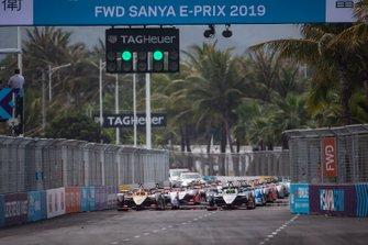 Oliver Rowland, Nissan e.Dams, Nissan IMO1, Jean-Eric Vergne, DS TECHEETAH, DS E-Tense FE19, sur la première ligne