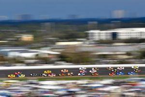 Joey Logano, Team Penske, Ford Mustang Shell Pennzoil, Daniel Suarez, Stewart-Haas Racing, Ford Mustang Haas Automation and Ryan Blaney, Team Penske, Ford Mustang Menards/Peak
