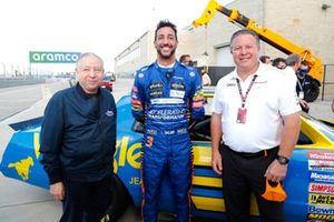 Daniel Ricciardo, McLaren, Jean Todt, President, FIA and Zak Brown, CEO, McLaren Racing
