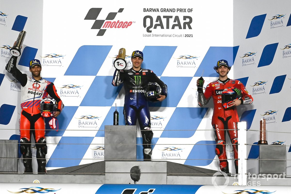 Podium: Johann Zarco, Pramac Racing, Maverick Viñales, Yamaha Factory Racing, Francesco Bagnaia, Ducati Team