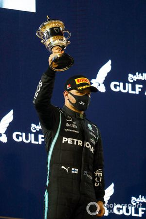 Valtteri Bottas, Mercedes, 3rd position, on the podium with his trophy