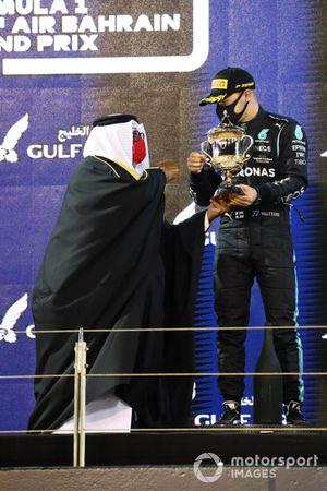 Valtteri Bottas, Mercedes, 3rd position, receives his trophy