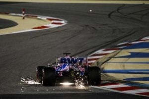 Sparks fly from Sergio Perez, Racing Point RP20