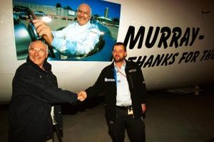 European Aviation and Minardi team manager Paul Stoddart welcomes TV Commentator Murray Walker to a special flight home after he commentated on his final European Grand Prix