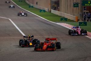 Sebastian Vettel, Ferrari SF1000, Alex Albon, Red Bull Racing RB16, and Sergio Perez, Racing Point RP20