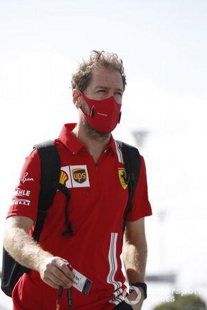 Sebastian Vettel, Ferrari, arrives
