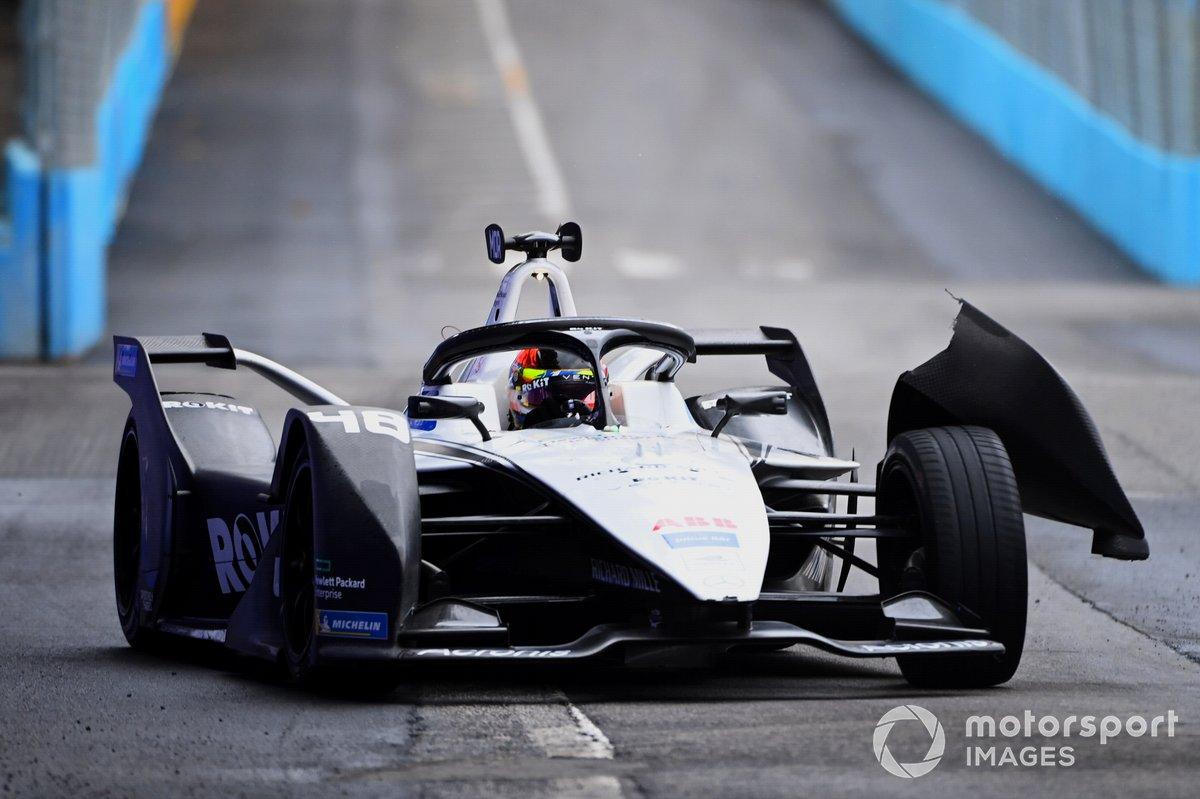 Edoardo Mortara, Venturi Racing, Silver Arrow 02, con daños en la parte delantera