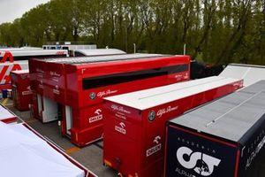 The Alfa Romeo Racing motorhome in the paddock