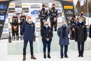 Podium: Winners Ott Tänak, Martin Järveoja, Hyundai Motorsport Hyundai i20 Coupe WRC, third place Thierry Neuville, Martijn Wydaeghe, Hyundai Motorsport Hyundai i20 Coupe WRC with Michele Mouton, Jean Todt, FIA President