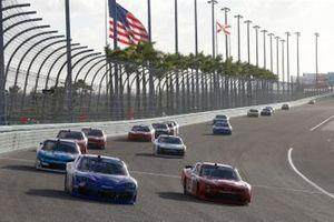 Landon Cassill, JD Motorsports, Chevrolet Camaro TeamJDMotorsports.com, Timmy Hill, Motorsports Business Management, Ford Mustang CRASHCLAIMSR.US
