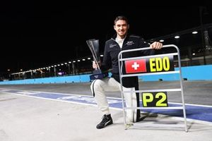 Edoardo Mortara, Venturi Racing, celebrates after the race with his trophy for second position