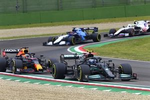 Valtteri Bottas, Mercedes W12, Max Verstappen, Red Bull Racing RB16B, and George Russell, Williams FW43B