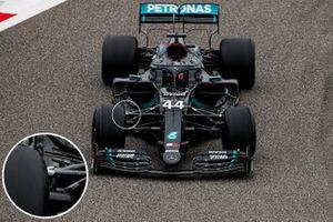 Lewis Hamilton, Mercedes F1 W11 front suspension detail