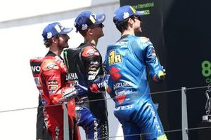 Fabio Quartararo, Yamaha Factory Racing, Francesco Bagnaia, Ducati Team, Joan Mir, Team Suzuki MotoGP podium