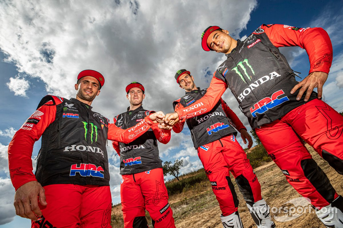 #1 Monster Energy Honda Team: Ricky Brabec, #4 Monster Energy Honda Team: Jose Ignacio Cornejo Florimo, #47 Monster Energy Honda Team: Kevin Benavides, #88 Monster Energy Honda Team: Bort Joan Barreda
